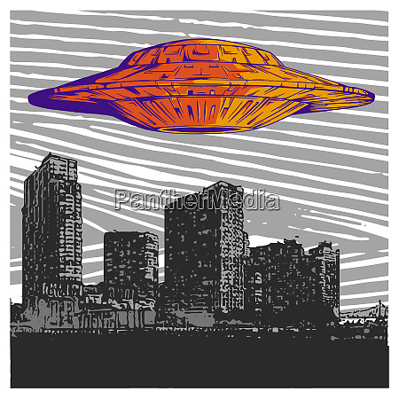 vector illustration ufo with light flying