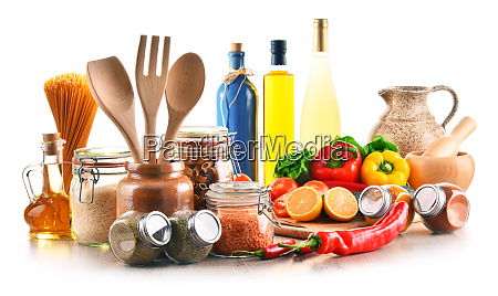 assorted food products and kitchen utensils
