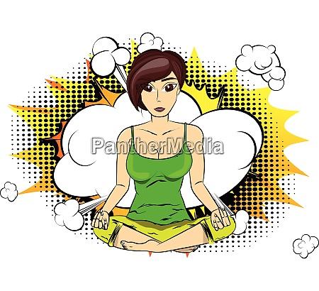 yoga concept woman doing yoga meditating