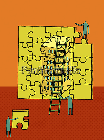 workers building highrise puzzle