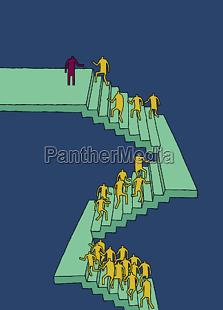workers climbing stairs