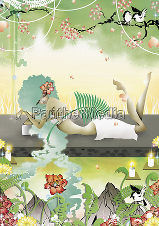 woman relaxing in natural spa