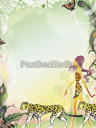 sexy woman walking leopards in jungle