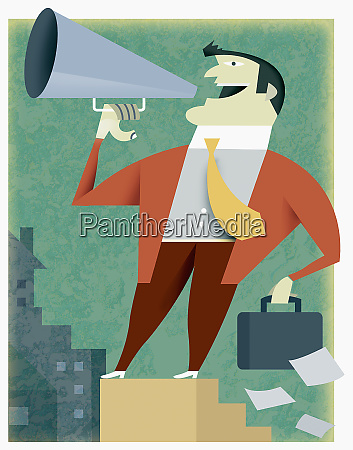 businessman talking into bullhorn