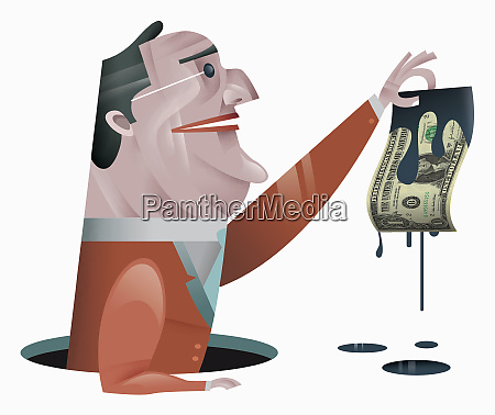 businessman holding dollar bill dripping oil