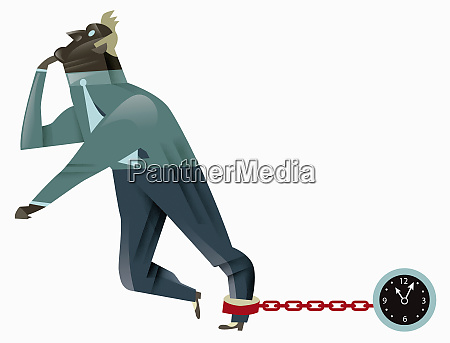 businessman pulling clock shaped ball and