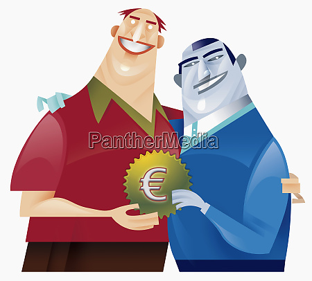 two men holding cog with euro