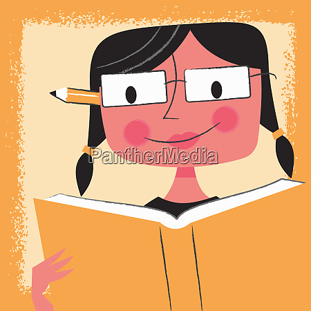 young woman student reading textbook