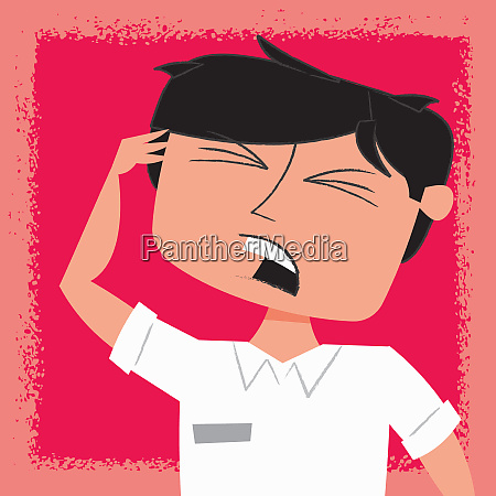 irritated man with head in hands