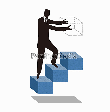 businessman walking on stairs building next