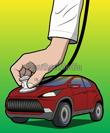 doctor examining car with stethoscope