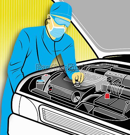 surgeon putting stethoscope on car engine