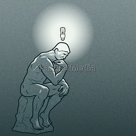 the thinker statue with energy saving