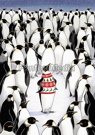 penguin standing out from the crowd