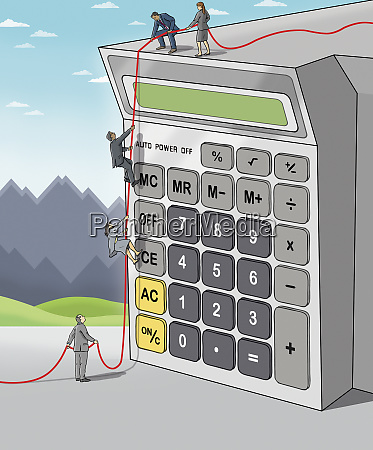 business people climbing on calculator together