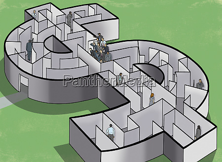 business people in a dollar maze