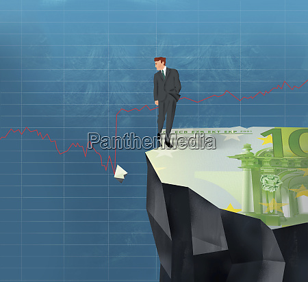 businessman on cliff looking at broken
