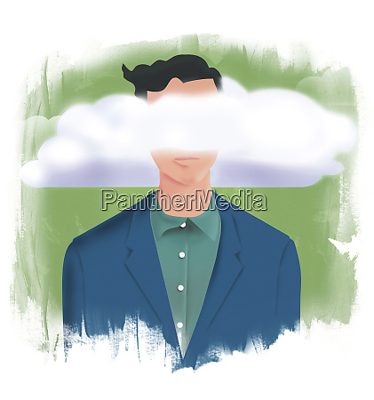 man with head in the clouds