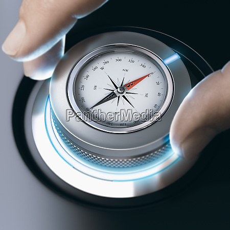 person using modern compass for professional