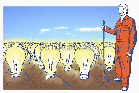 farmer on field with lightbulbs