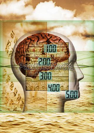 digital numbers over brain