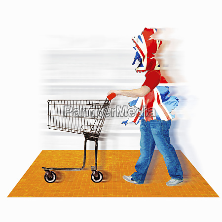 british flag covering consumer with shopping