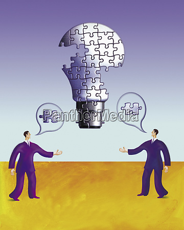 two businessmen talking building up lightbulb