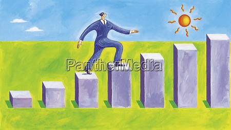 confident businessman walking on steps of