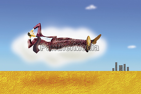 relaxed businessman floating in the sky