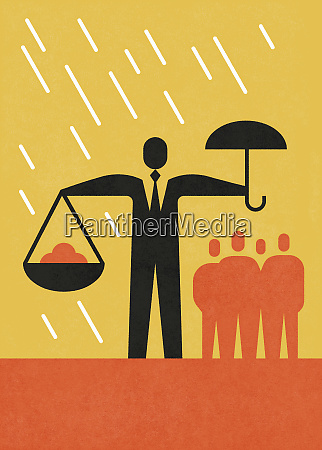 businessman holding umbrella in one hand
