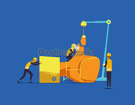 builders assembling large hand