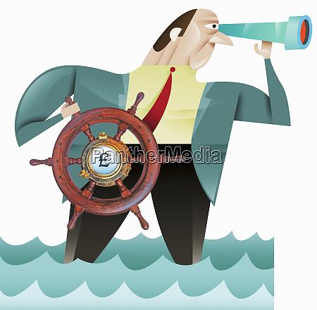 businessman using steering wheel with british
