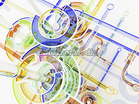 abstract colorful connecting circles and lines