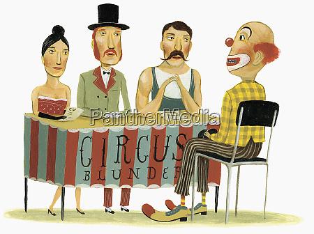 circus panel interviewing clown