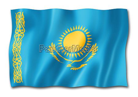 kazakhstan flag isolated on white