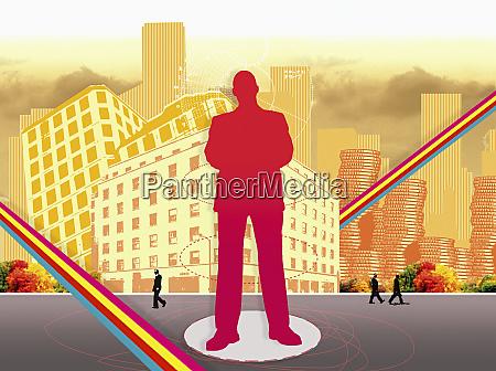 businessman, standing, in, urban, street - 25992265