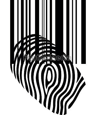 fingerprint barcode security internet sticker label