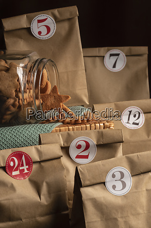 advent calendar paper bags and cookies