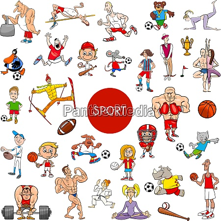 cartoon people and sports large set