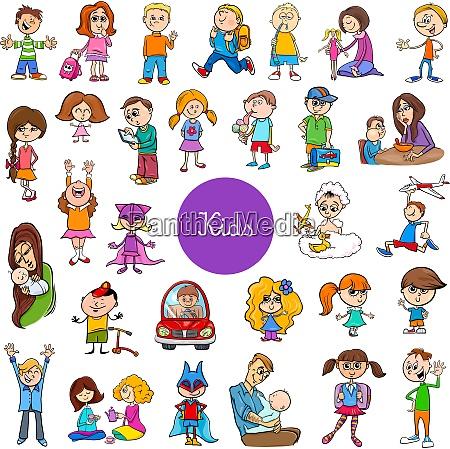 cartoon children characters big set