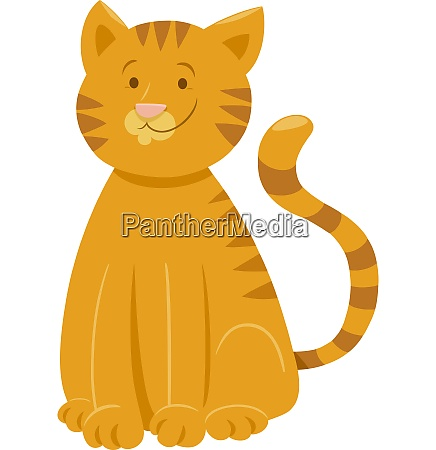 funny yellow cat cartoon animal character