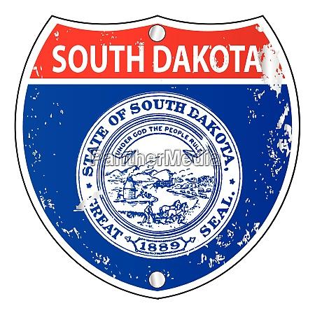 south dakota flag icons as interstate