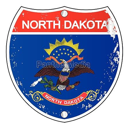 north dakota flag icons as interstate