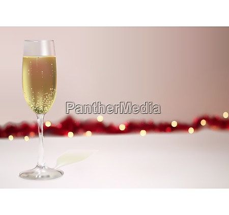 festive background with champagne glass