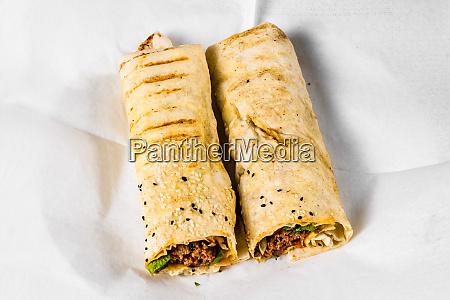 lavash wrap kebab served in turkish