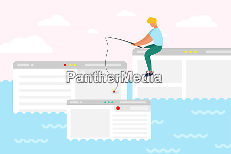 man sit on computer window trying