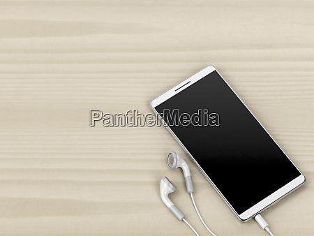white smartphone and earphones on wood