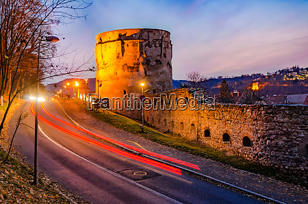 brasov romania the drapers bastion night