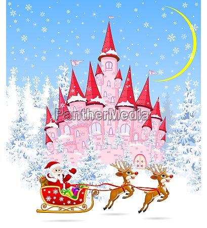 santa and deers on the background