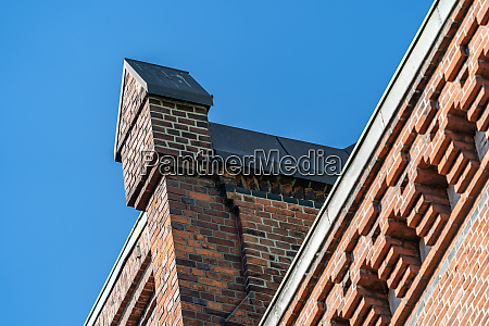 facade detail of a brick warehouse